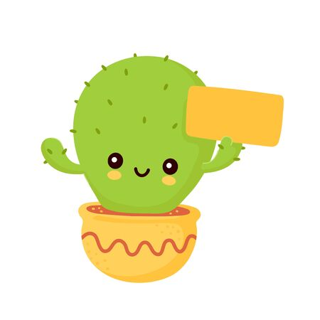Cute happy smiling cactus with empty sign. Vector flat cartoon illustration icon design. Isolated on white background. Cactus in pot concept