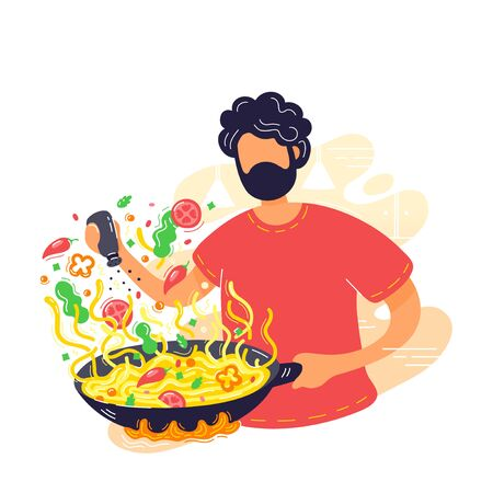 Young man coocking noodles in wok frying pan. Vector modern trendy flat style cartoon character illustration icon design. Isolated on white background. Coffee concept. Wok home cooking concept Stock Vector - 129198078