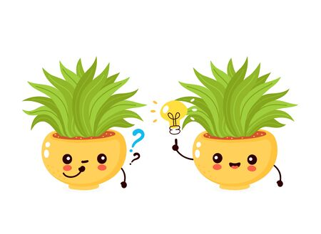 Cute happy smiling plant in pot with light bulb and question mark. Vector flat cartoon illustration icon design. Isolated on white background. Plant in pot,houseplant  concept
