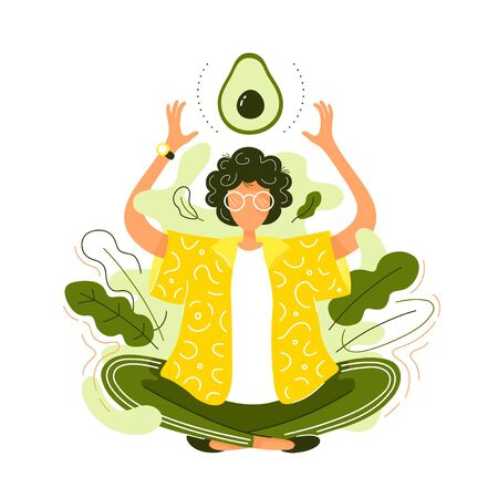 Young woman in lotus yoga pose meditate  with avocado. Vector modern trendy flat style cartoon character illustration icon design. Isolated on white background. Healthy food concept