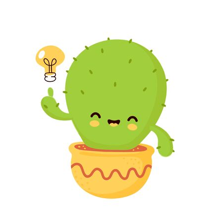 Cute happy smiling cactus in pot with light bulb. Vector flat cartoon illustration icon design. Isolated on white background. Cactus have idea concept