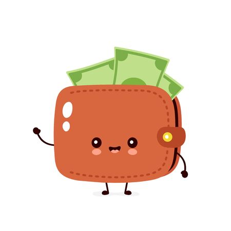 Cute happy money banknote wallet. Vector flat cartoon character illustration icon design. Isolated on white background. Wallet concept