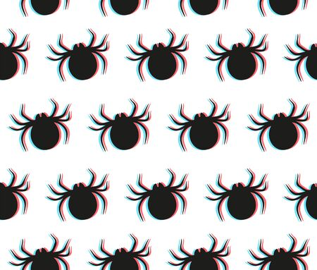 Anaglyph spider seamless pattern with 3D glitch effect. Vector flat stylish modern trendy illustration icon design. Black spider on white background pattern concept