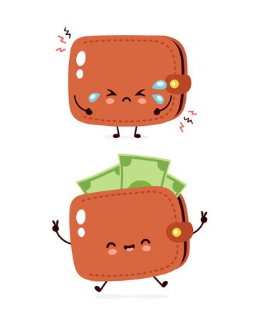 Cute happy and sad cry money banknote wallet. Vector flat cartoon character illustration icon design. Isolated on white background. Wallet concept