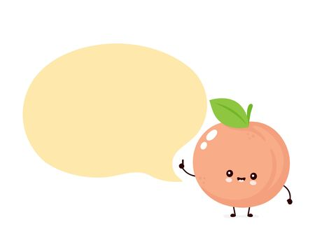 Cute happy smiling peach with speech bubble. Vector flat cartoon character illustration icon design. Isolated on white background. Peach fruit  concept Imagens - 129198473