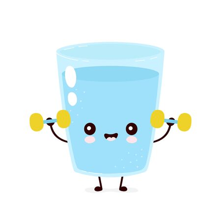 Cute smiling happy water glass with dumbbels. Vector flat cartoon character illustration.Isolated on white background.Water character concept