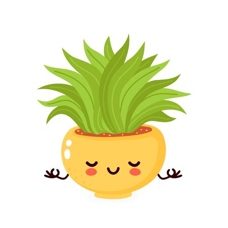 Cute happy smiling plant meditate. Vector flat cartoon illustration icon design. Isolated on white background. Plant in pot,houseplant concept