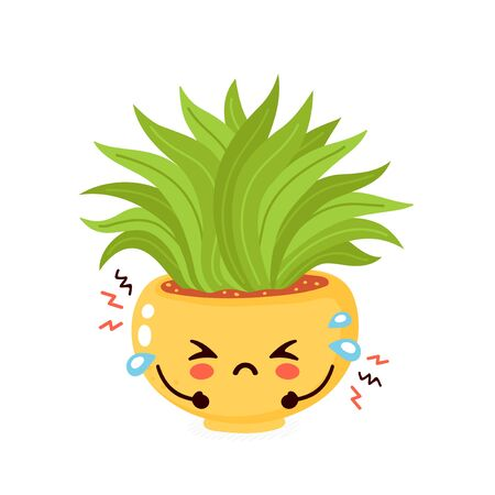 Cute sad cry old plant. Vector flat cartoon illustration icon design. Isolated on white background. Dried plant in pot concept