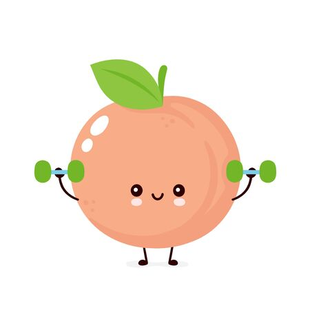 Cute happy smiling peach with dumbells. Vector flat cartoon character illustration icon design. Isolated on white background. Peach fruit fitness concept