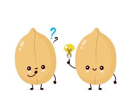 Cute happy peanut with question mark and light bulb. Vector flat cartoon character illustration icon design. Isolated on white background. Nuts concept
