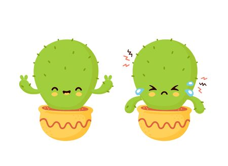 Cute sad cry dried and happy cactus. Vector flat cartoon illustration icon design. Isolated on white background. Cactus in pot concept