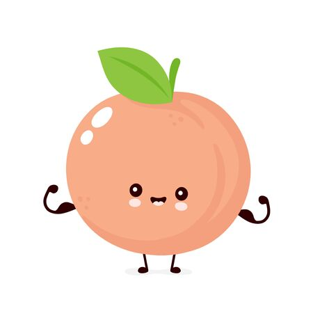 Cute happy smiling peach. Vector flat cartoon character illustration icon design. Isolated on white background. Peach fruit  concept