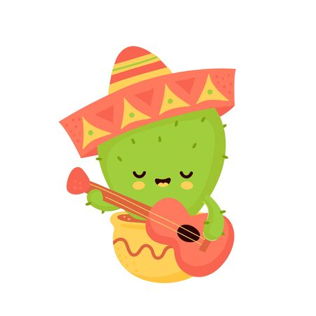 Cute happy smiling cactus with guitar in mexican hat. Vector flat cartoon illustration icon design. Isolated on white background. Cactus in pot concept Фото со стока - 129198666