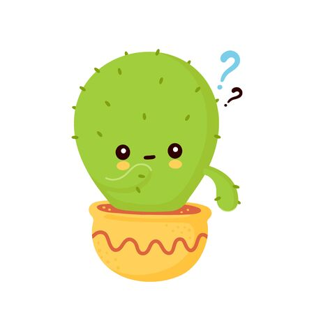 Cute happy smiling cactus in pot with question mark. Vector flat cartoon illustration icon design. Isolated on white background. Cactus think concept