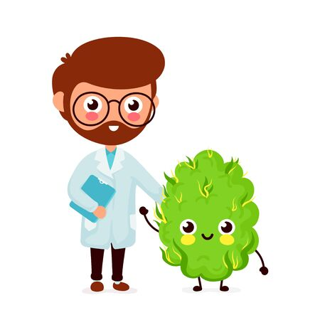 Cute funny smiling doctor and happy medical cannabis bud.Healthcare weed help. Vector flat cartoon character icon design. Isolated on white background. Doctor and medical marijuana,cannabis concept