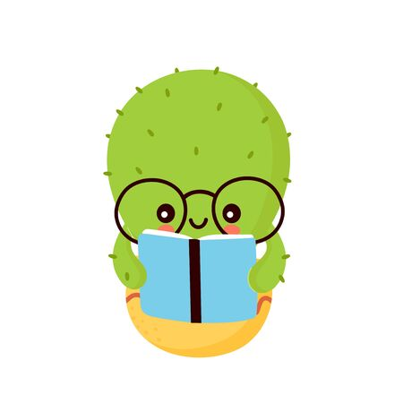 Cute happy smiling cactus read book. Vector flat cartoon illustration icon design. Isolated on white background. Cactus in pot concept Фото со стока - 129198687