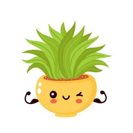 Cute happy smiling plant in pot show muscle biceps. Vector flat cartoon illustration icon design. Isolated on white background. Strong healthy plant character concept