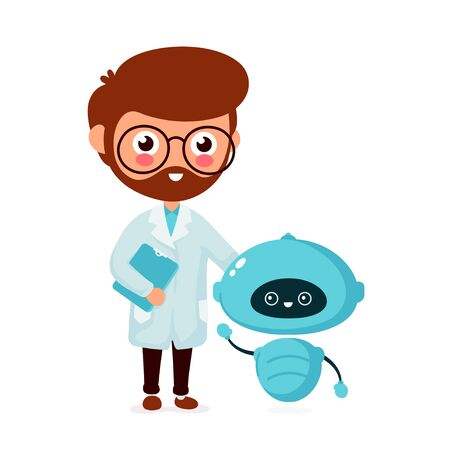 Happy smiling engineer, scientist with cute little robot. Vector flat cartoon character icon design. Isolated on white background