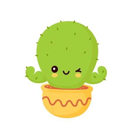 Cute happy smiling cactus in pot show muscle biceps. Vector flat cartoon illustration icon design. Isolated on white background. Cactus character concept