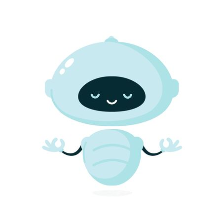 Cute smiling robot, bot meditate in yoga pose. Vector modern flat cartoon character illustration.Isolated on white background.Friendly robot,chat bot concept Ilustração