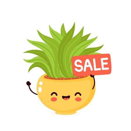Cute happy smiling cactus with sale sign. Vector flat cartoon illustration icon design. Isolated on white background. Cactus in pot concept