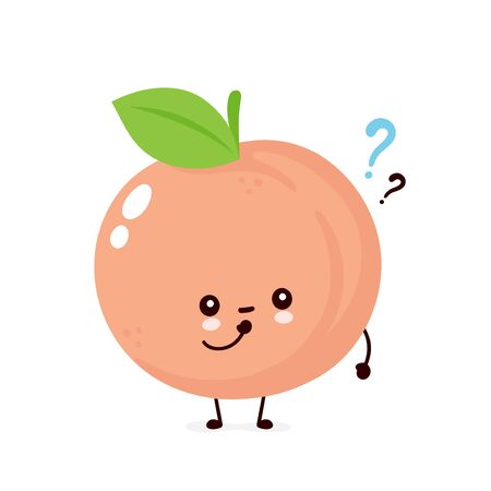 Cute happy smiling peach with question mark. Vector flat cartoon character illustration icon design. Isolated on white background. Peach fruit think concept