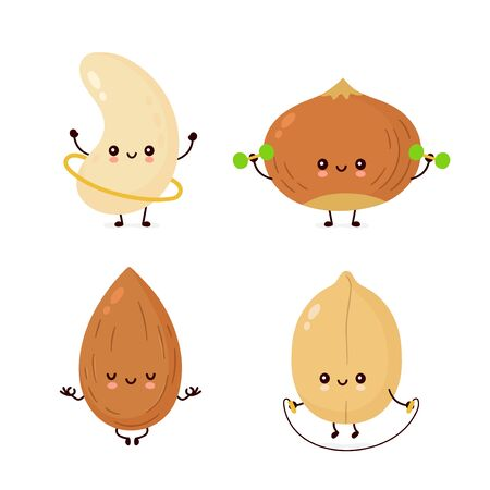 Cute happy nuts make fitness,yoga,gym set collection. Vector flat cartoon character illustration icon design. Isolated on white background. Peanut, hazelnut, cashew, almond characters  イラスト・ベクター素材