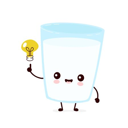 Cute smiling happy milk glass with light bulb. Vector flat cartoon character illustration.Isolated on white background.Milk glass have idea character concept Ilustração