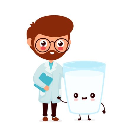 Cute smiling happy doctor and milk glass. Vector flat cartoon character illustration.Isolated on white background.Milk glass character concept Ilustração