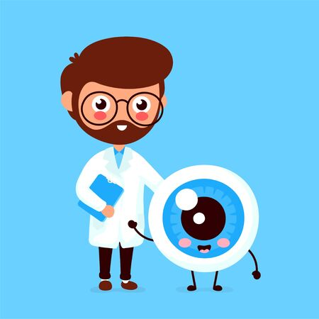 Cute funny smiling doctor oculist and healthy happy eyeball.Healthcare,medical help. Vector flat cartoon character icon design. Isolated on white background. Doctor and eye friends concept Ilustração