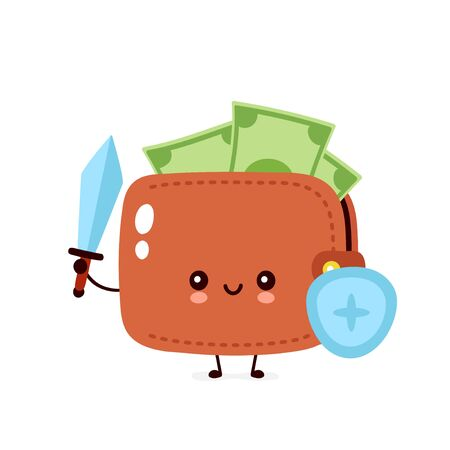 Cute happy money banknote wallet with shield and sword. Vector flat cartoon character illustration icon design. Isolated on white background. Wallet concept