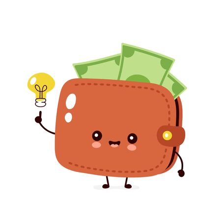 Cute happy money banknote wallet with light bulb. Vector flat cartoon character illustration icon design. Isolated on white background. Wallet have idea concept