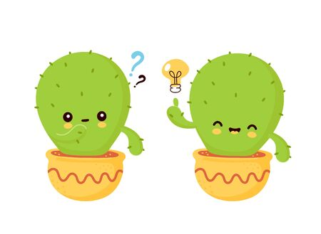 Cute happy smiling cactus in pot with light bulb and question mark. Vector flat cartoon illustration icon design. Isolated on white background. Cactus have idea concept Ilustração