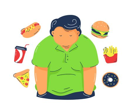 Fat  obesity man with fast food products. Vector trendy flat line illustration design.Isolated on white background.Unhealthy junk food concept Illustration