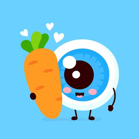 Cute eyeball with carrot in love character. Vector flat cartoon character illustration icon design. Isolated on white background. Nutrition for good vision