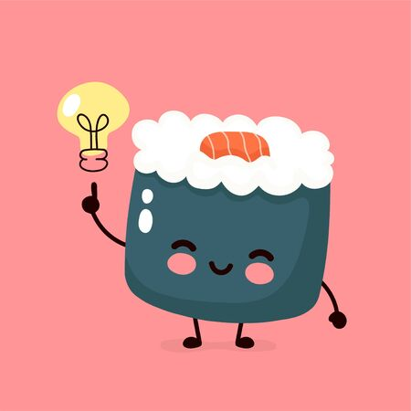 Cute happy smiling sushi,roll with light bulb.Vector hand drawing style illustration card desgin. Isolated on white background. Asian,japanese,chinese food concept Ilustração