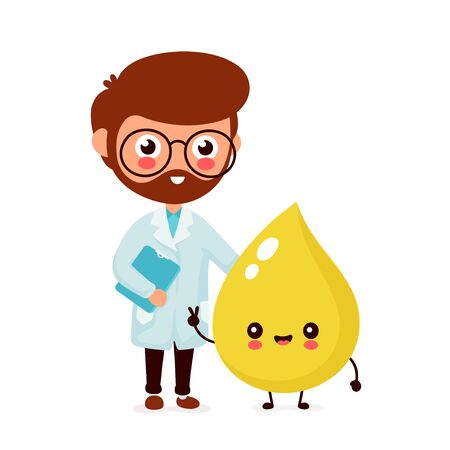 Cute funny smiling doctor urologist and happy urina drop.Healthcare,medical help. Vector flat cartoon character icon design. Isolated on white background. Doctor and urina friends concept