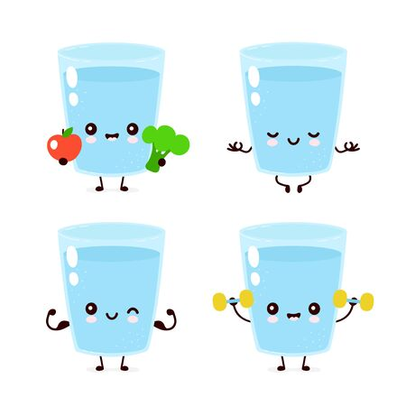 Cute smiling happy water glass healthy,fitness set. Vector flat cartoon character illustration.Isolated on white background.Water character concept
