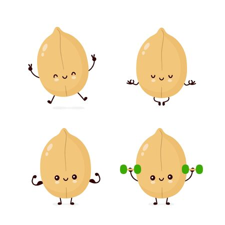 Cute happy peanut make fitness,yoga,gym set collection. Vector flat cartoon character illustration icon design. Isolated on white background. Peanut concept