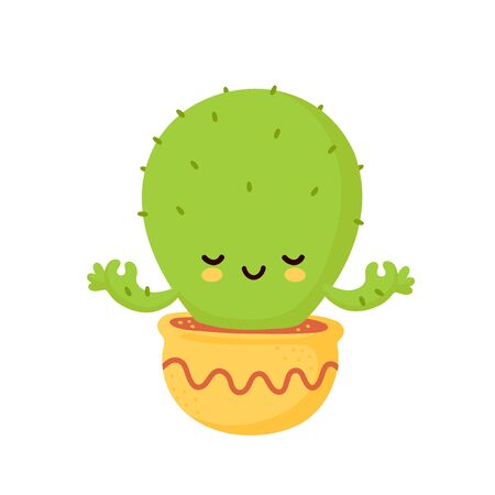 Cute happy smiling cactus meditate. Vector flat cartoon illustration icon design. Isolated on white background. Cactus yoga concept