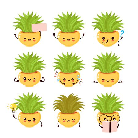 Cute happy smiling plant set collection. Vector flat cartoon illustration icon design. Isolated on white background. Plant in pot,houseplant concept Ilustração