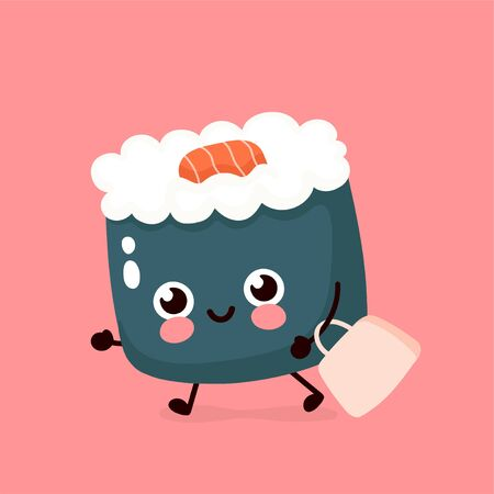 Cute happy smiling sushi,roll run with bag.Vector hand drawing style illustration card desgin. Isolated on white background. Asian,japanese,chinese food fast delivery concept Ilustração