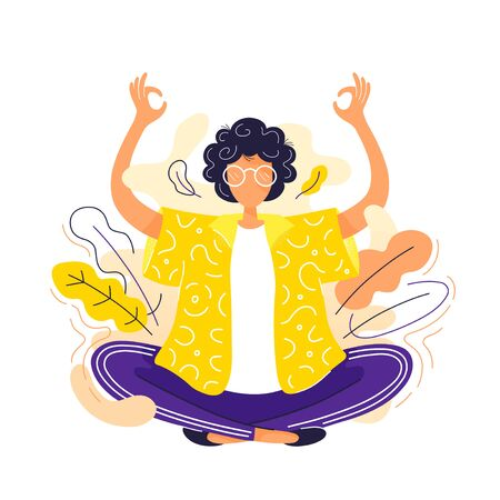 Young woman meditate  in lotus yoga pose. Vector modern trendy flat style cartoon character illustration icon design. Isolated on white background. Meditation yoga concept