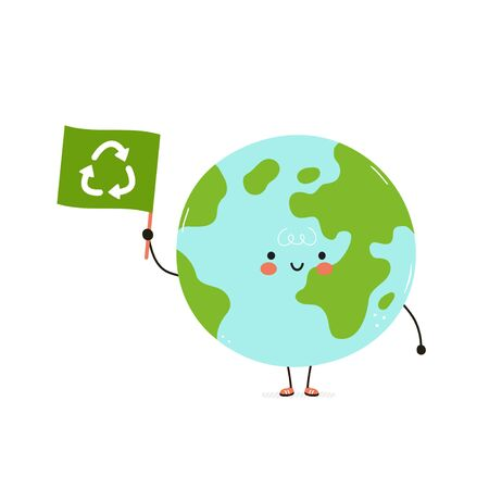 Cute happy Earth planet with recycling flag. Eco friendly card. Isolated on white background. Vector cartoon character illustration design,simple flat style. Recycling, sorted garbage concept