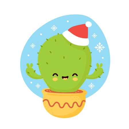 Cute smiling happy cactus in christmas hat and gloves. Vector flat cartoon character illustration. Christmas cactus character concept Illusztráció