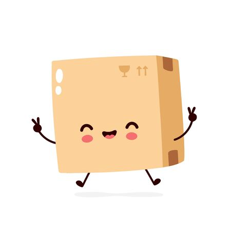 Cute smiling happy parcel,delivery box. Vector flat cartoon character illustration.Isolated on white background.Delivery box character concept