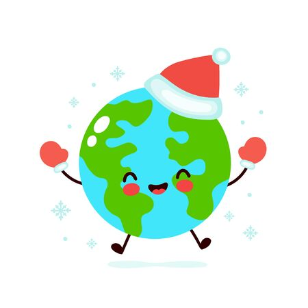 Cute smiling happy Earth planet in christmas hat and gloves. Vector flat cartoon character illustration. Christmas Earth character concept Illusztráció