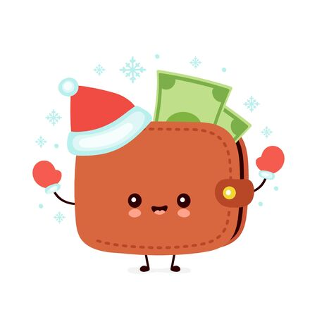 Cute smiling happy wallet in christmas hat and gloves. Vector flat cartoon character illustration. Christmas wallet character concept
