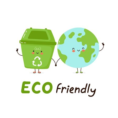 Cute happy trash bin and Earth planet. Eco friendly card. Isolated on white background. Vector cartoon character illustration design,simple flat style. Recycling, sorted garbage concept Stock Illustratie