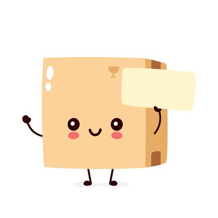 Cute smiling happy parcel,delivery box with empty sign. Vector flat cartoon character illustration.Isolated on white background.Delivery box character concept